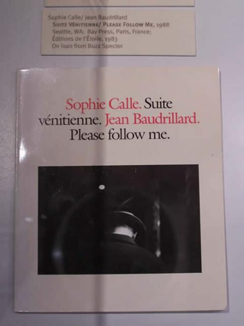 Sophie Calle/ Jean Baudrillard  Suite Vénitienne/ Please Follow Me, 1988  Seattle, WA: Bay Press, Paris, France: Éditions de l'É